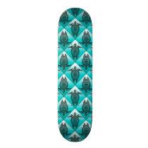 Shamanic Sea Turtles Pattern - cyan Skateboard Deck