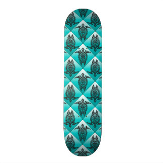Shamanic Sea Turtles Pattern - cyan Skateboard Deck