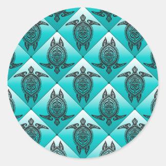 Shamanic Sea Turtles Pattern - cyan Round Stickers