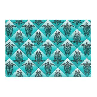 Shamanic Sea Turtles Pattern - cyan + your idea Placemat