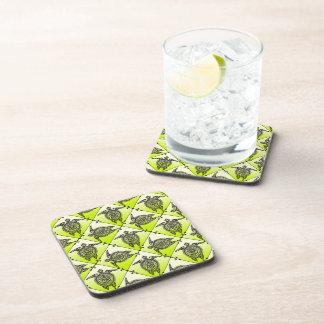 Shamanic Sea Turtles Pattern - green Drink Coaster