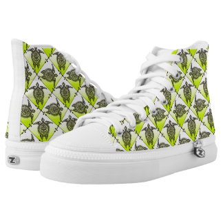Shamanic Sea Turtles Pattern - green High-Top Sneakers