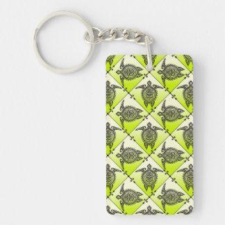 Shamanic Sea Turtles Pattern - green Keychain