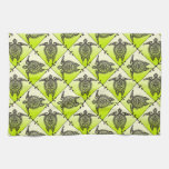 Shamanic Sea Turtles Pattern - green Kitchen Towels