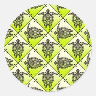 Shamanic Sea Turtles Pattern - green Round Sticker