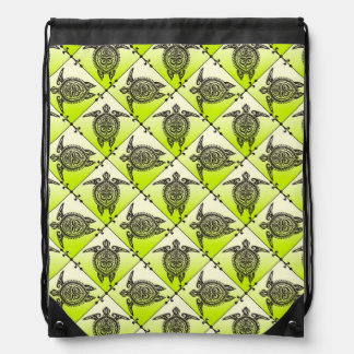 Shamanic Sea Turtles Pattern - green vertical Drawstring Bag