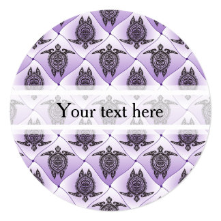 Shamanic Sea Turtles Pattern - violet Card