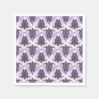 Shamanic Sea Turtles Pattern - violet Disposable Napkins