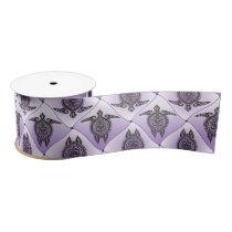 Shamanic Sea Turtles Pattern - violet Satin Ribbon