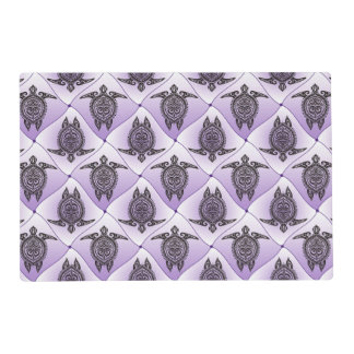 Shamanic Sea Turtles Pattern - violet + your idea Placemat