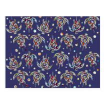 Shamanic Sea Turtles Pattern   your backgr. color Postcard