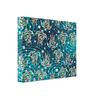 Shamanic Sea Turtles Pattern + your backgr image Gallery Wrap Canvas