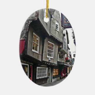 Shambles Street of York Double-Sided Oval Ceramic Christmas Ornament