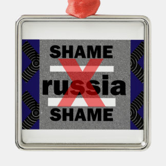 SHAME RUSSIA Dictator Shameful Fear Trouble Insane Square Metal Christmas Ornament