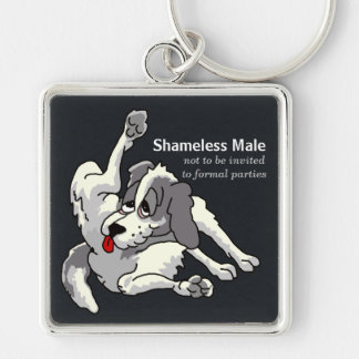 Shameless Male Silver-Colored Square Keychain