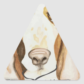 Shaming the Dog Basset Hound Triangle Sticker