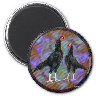 Shamo:  Black Pair 2 Inch Round Magnet