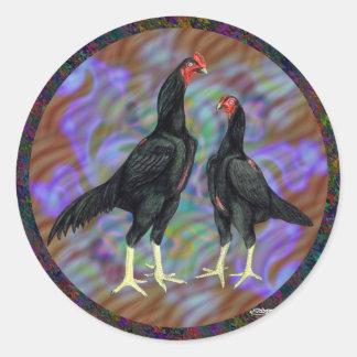 Shamo:  Black Pair Classic Round Sticker