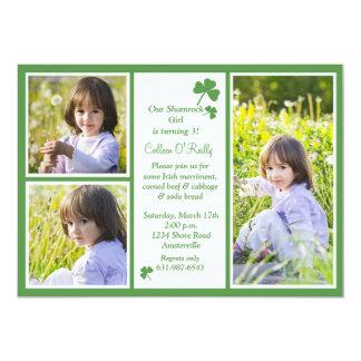 Shamrock 3-Photo Birthday Party Invitation. Card