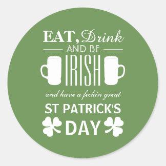 Shamrock and Beer Irish St Patrick's Day Classic Round Sticker