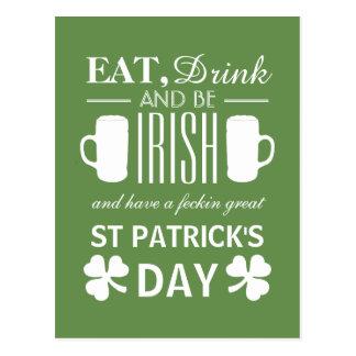 Shamrock and Beer Irish St Patrick's Day Postcard
