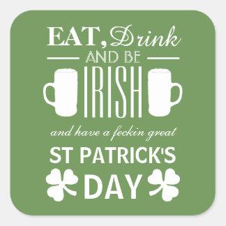 Shamrock and Beer Irish St Patrick's Day Square Sticker