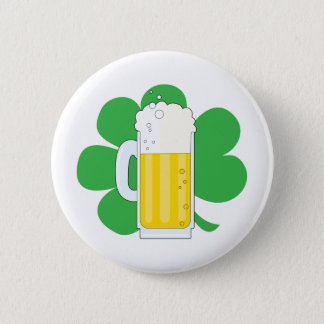 Shamrock and Beer Pinback Button