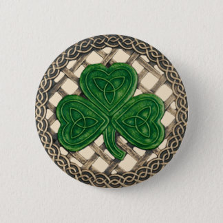 Shamrock And Celtic Knots Button Beige