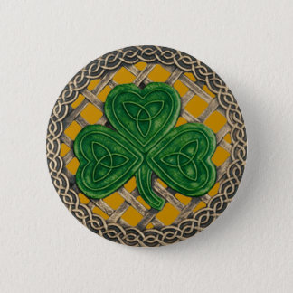 Shamrock And Celtic Knots Button Gold