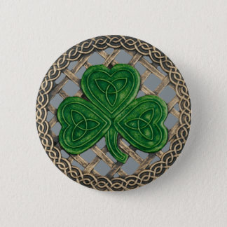 Shamrock And Celtic Knots Button Gray
