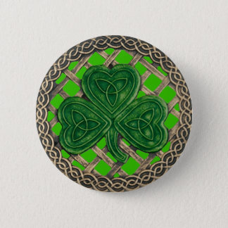 Shamrock And Celtic Knots Button Green
