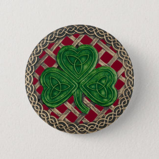 Shamrock And Celtic Knots Button Red