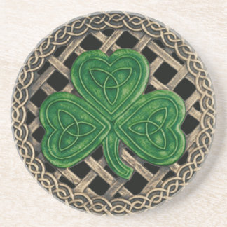 Shamrock And Celtic Knots Coaster Black