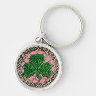 Shamrock And Celtic Knots Keychain Pink