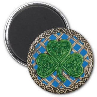 Shamrock And Celtic Knots Magnet Blue