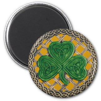 Shamrock And Celtic Knots Magnet Gold