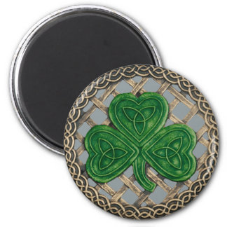 Shamrock And Celtic Knots Magnet Gray