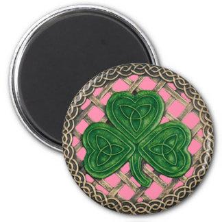 Shamrock And Celtic Knots Magnet Pink