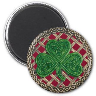 Shamrock And Celtic Knots Magnet Red