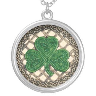 Shamrock And Celtic Knots Necklace Beige