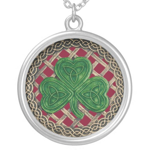 Shamrock And Celtic Knots Necklace Red