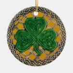 Shamrock And Celtic Knots Ornament  Gold