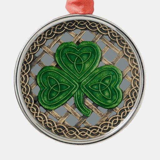 Shamrock And Celtic Knots Ornament  Gray