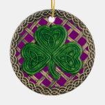 Shamrock And Celtic Knots Ornament  Purple