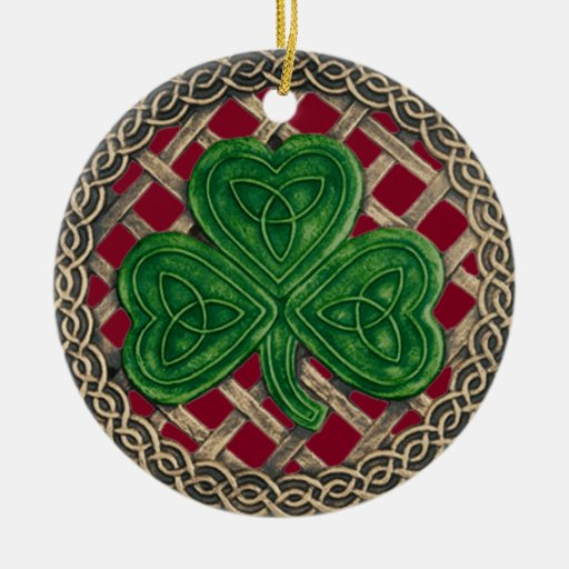 Shamrock And Celtic Knots Ornament  Red