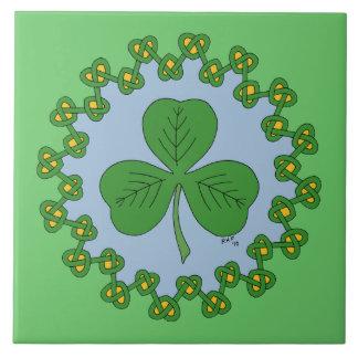 Shamrock and Green Knotwork Ceramic Tile
