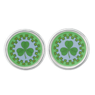 Shamrock and Green Knotwork Cufflinks