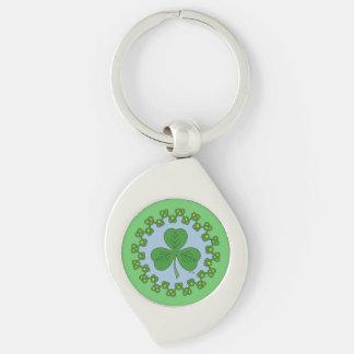 Shamrock and Green Knotwork Metal Keychain