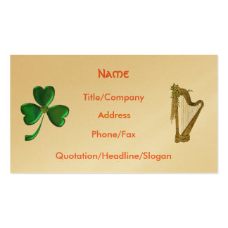 Shamrock and Harp Business Card Template