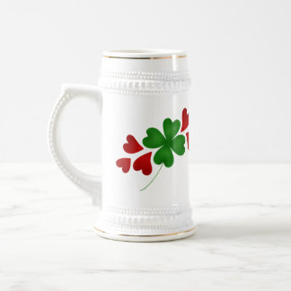 Shamrock and hearts beer stein